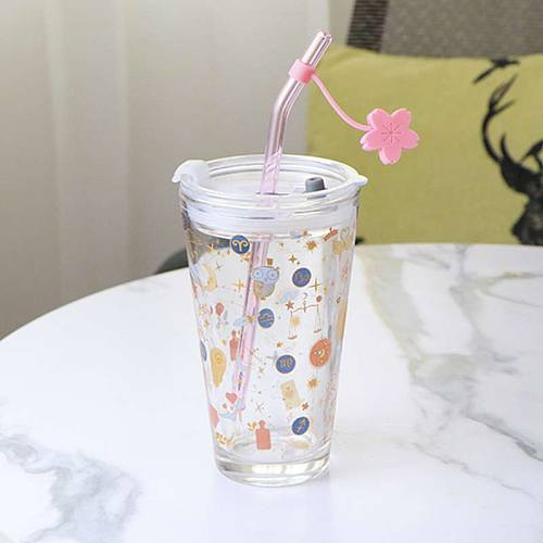 480ml Starry Sky Glass Cup Leak-proof Water Cup With Lid Sealed & Straw Milk Juice Coffee Mug Home Office Travel Mug With Scale