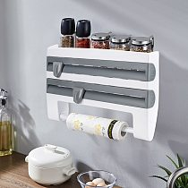 4 In 1 Wall Mounted Kitchen Racks Shelf Plastic Wrap Cutting Cling Film Tin Foil Paper Cutting Holder Rack Kitchen Organizer