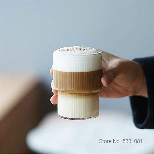 INS Nordic Little Fresh Style Frappe Glass Iced Coffee Cup Vertical Stripes Internet Celebrity Restaurant Dessert Milk Shake Mug