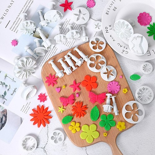 33pcs/set Plastic Flower Fondant Cake Decorating Tools Sugar craft Plunger Cutter Baking Cookies Mold Kitchen tool