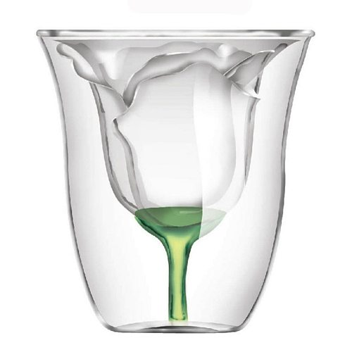 Bodum Design Rose Shape Double Wall Copo Gafas Vetro Bilayer Wine Glass Cocktail Flip Liquor Cup Vaso Household Bar Lover Gift