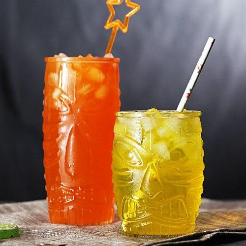 XING KILO Glass Juice Cup Tea Cup Grimace Totem Individual Art Glass Drink Cup Hawaiian Tiki Cocktail Glass
