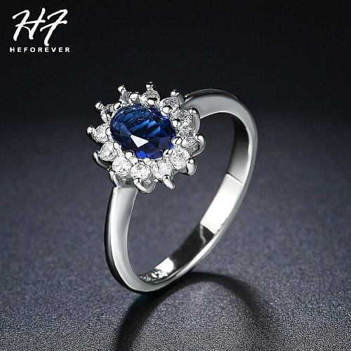 Blue Crystal Silver Color Ring Jewelry Made with AAA+Cubic Zirconia 5 Multi Sizes HotSale R076