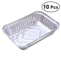 10 Pcs Disposable BBQ Drip Pan Tray Aluminum Foil Tin Liners for Grease Catch Pans Replacement Liner Trays Without Cover