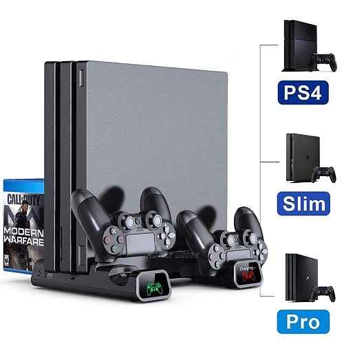 PS4 Pro Slim Vertical Stand 2 Controller Charger Cooling Fan 10 Game Storage for Play Station 4  PS 4 Series Console Accessories