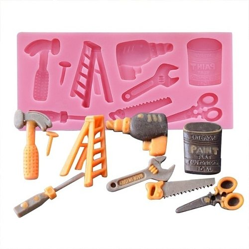 3D Repair Tools Cake Mold Silicone Hammer Scissors Shape Fondant Chocolate Mold DIY Sugar Dessert Decoration (Size:11.3x5.5x1cm)