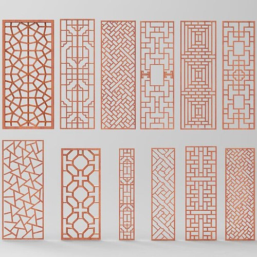 12pcs digital file screens partition 3d model relief for cnc carving engraving in STL file format doors window decor