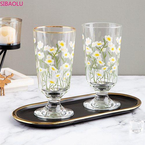 ins net red gold rim small daisy retro goblet Korean flower tulip glass short red wine  water Drinkware Champagne wine