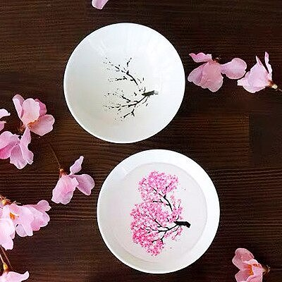 Japanese Magic Sakura Cup Flower Change Bowl Cold Hot Temperature Color Changing Flower Display Cup Ceramic Kung Fu Tea Cup