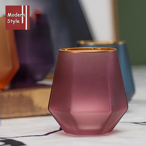TECHOME Elagant Style Transparent Diamond Shaped Water Cup Gold Rim Glass Cup Home Drinking Cup Polygon Matte Milk Cup Wine Cup