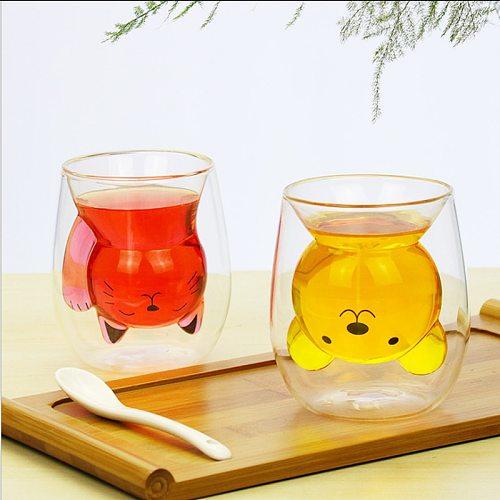250ML Double Wall Creative Heat-resistant Bear Cat Glass Insulated Cute Animal Cartoon Shape Milk Water Breakfast Cup