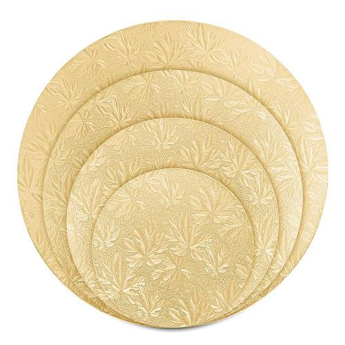 4PCS Round Cake Boards Sturdy Round Cake Circle Base Tray with 3 Cake Scrapers 6 inches 8 inches 10 inches and 12 inches (Gold)