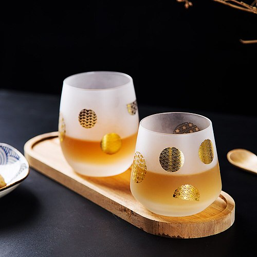 Japanese Style Sakura Frosted Glass Eco-friend Wine Juice Beer Cup Featured Golden Texture Coffee Cup Creative Gift for Friends