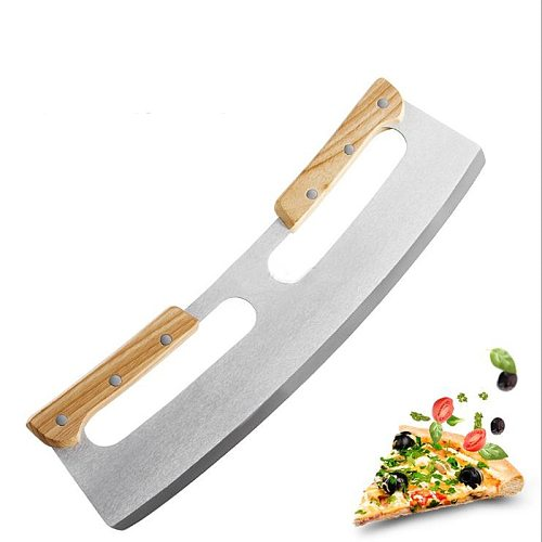 Pizza Cutter Rocker Stainless Steel with Double Wooden Handle 14 Inch Upgraded Sharp Pizza Slicer Knife Chopper with Blade Cover