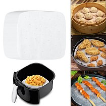7/8/9 Inch 100Pcs Pot Oil Paper Air Fryer Liners White For Steaming Baking Perforated Non-stick Mat Kitchen Accessories