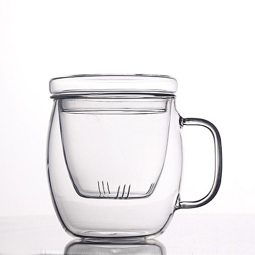 ELETON 500ML 3pcs/set mugs Heat-resistant glass transparent tea cup double filter with cover creative office cup, tea cup