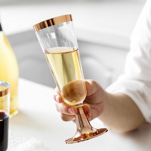 6pcs Food Grade Plastic Champagne Glass Red Wine Glass Tasting Rose Gold Dessert Cup Coffee Mug Plastic Cup Milk Glass Christmas