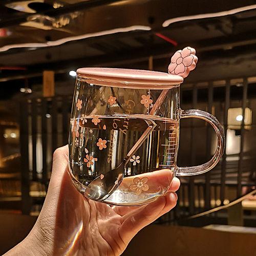Sakura glass mug With Spoon&Ceramic Lid Japanese Flower Glass Creative Pink Cherry Blossom Glass Cup For Women Girl Drinking