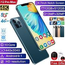 Global Version 6.7   i12 Pro Max Full Screen 4800mAh 5G 12GB 512GB 13MP+32MP MTK6799 10Core Face ID Mobile Phone Smartph