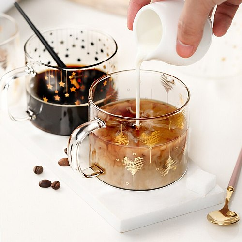 400ml Star Heart Letter Portrait Glass Mug Coffee Cup With Handle Couple Cups For Breakfast Milk Tea Juice Cold Brinkware Beer