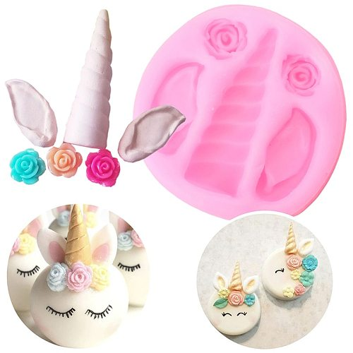 Cartoons Unicorn Ears Silicone Mold  DIY Cupcake Topper Fondant Cake Decorating Tools Flower Candy Polymer Clay Resin Moulds