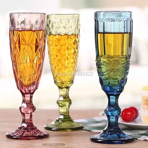 Wine Glasses Cup 150ml Green Relief Retro Diamond Pattern Goblet Spirits Drinking  Fruit Juice Champagne Cups Wedding Glass