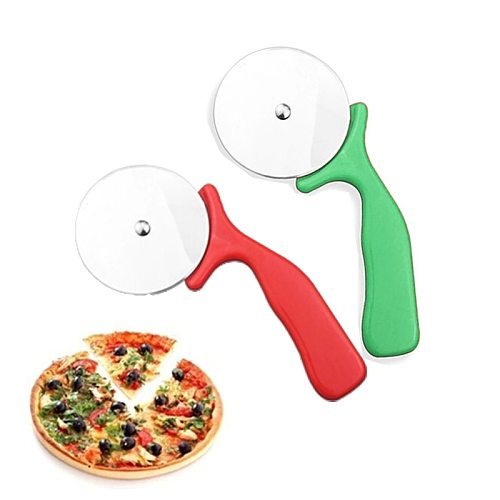 Green Pizza Cutter Stainless Steel Knife Kitchen Gadgets Pizza Wheels Scissors Ideal Pizza Pies Waffles Dough Cookies Cake Tools