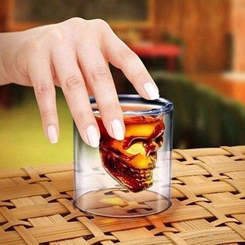 1pcs Skull Head Shot Glass Fun Creative Designer Crystal Party Wine Cup 25ml Transparent Beer Steins Halloween Gift