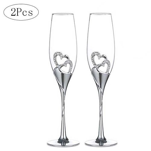 2Pcs Heart Shape Wine Glass Wedding Champagne Glasses Lover Rhinestone Wedding Glass Crystal Goblet Banquet Wedding Decoration