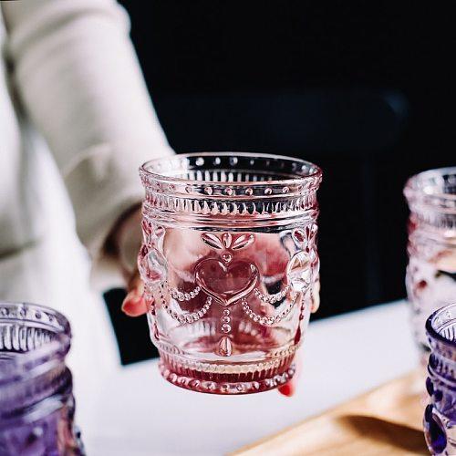 NEWYEARNEW 1piece Colorful Vintage Glass Relief Milk Cup Mug Fashion Birthday Wedding Gifts Bathroom Tumblers Tooth Washing Cup