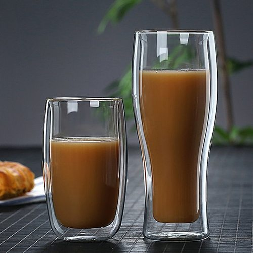 Heat Resistant Double Wall Glass Coffee Tea Cups And Mug Qith Double Bottom Clear Beer Wine Glass Cup   80/180/240/250/350/450ml