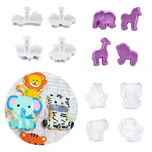 4PCS/SET 3D Animal Cookie Mold Food Grade Plastic Dinosaur Biscuit Cutter Jungle Party Baking Tools Party Cupcake DIY Supplies