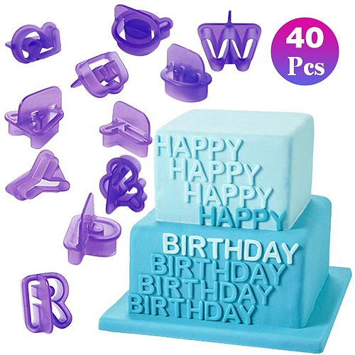 26 Letter 40PCs Digital Case  Letter Number Fondant Cake  Baking Mould Cookie Cutters And Stamps