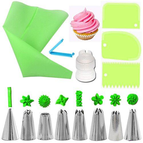 14Pcs/Set Reusable Icing Piping Nozzles Set Pastry Bag Scraper Flower Cream Tips Converter Baking Cup DIY Cake Decorating Tools