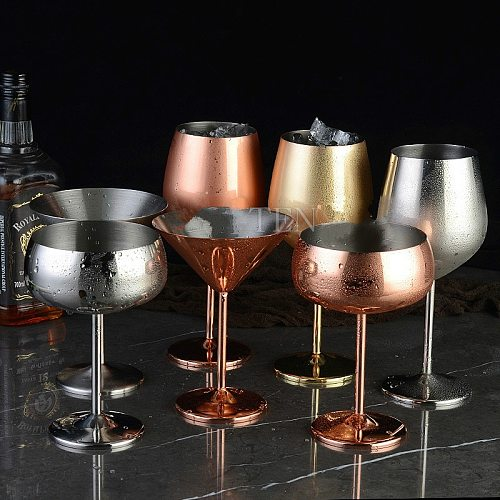 304 stainless steel copper plated single-layer goblet anti-fall glass cocktail glass 500ml wine cups  champagne glasses