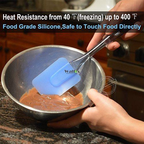 Walfos 3 Pieces Kitchen Heat-Resistant Flexible Silicone Spatulas Flipping Serving Small Medium Spoon Baking Pastry Spatulas Set