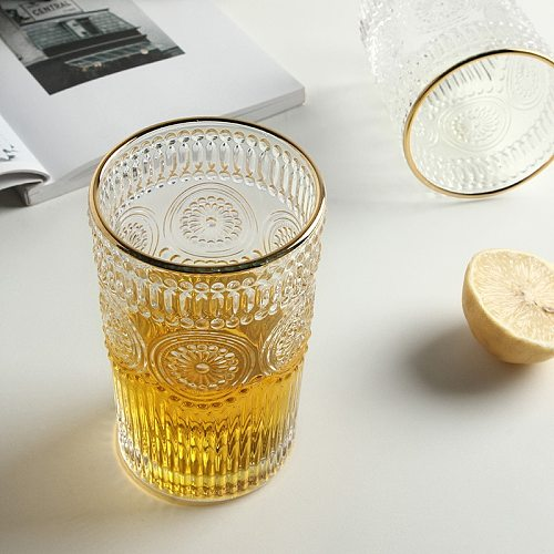 300/380ml Heat Resistant Vintage Roman Glass Cup Nordic Home Decor Wine Glasses Drinking Glasses Living Room Table Decor Crafts