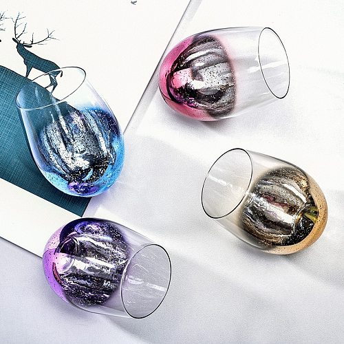 1 Piece 500ml Star Glass Mug Transparant Star Stemless Wine Glass With Metal Base Drink Glass Juice Wine Cup For Christmas Gift