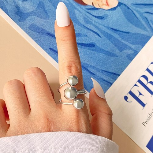 FAMSHIN 2021 New Vintage Ring For Women Adjustable Rings Asymmetry Round Beads Rings Multi Layer Simple Punk Gold Color Jewelry