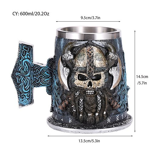 Viking Resin Stainless Steel Beer Mug Pirate Stein Creative Tankard Skull Coffee Cup Tea Mug Tumbler Pub Bar Decor Drop Shipping