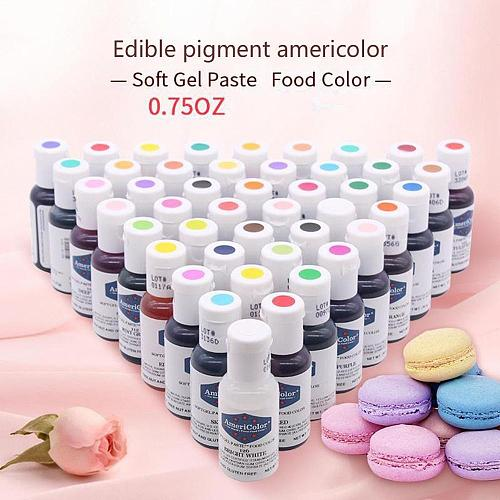 1PCS 21g Baking Decroation America Americolor Natural Edible Pigment 41colors Color Cream Fondant Cake Macaroon Cream Pigment