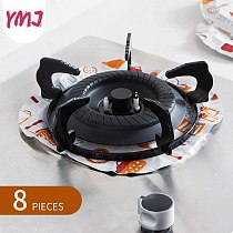Stove Oil-proof Tin Foil Gas Stove Mat Round Clean Gas Protection Aluminum Foil High Temperature Cookware Cleaning Disc 8 PCS