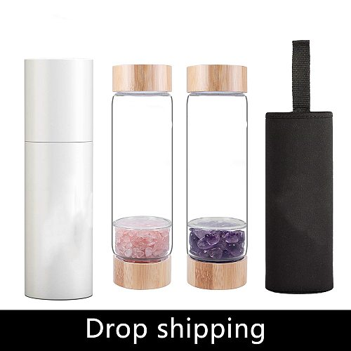 Natural Crystal Water Bottle Healing Obelisk  Elixir Quartz Crystal Energized Healthy Drinking Glass Bamboo Water Vintage Bottle