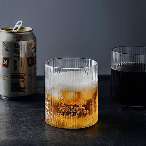 INS Style Glass Cup Transparent Tea Coffee Mug Ice Beer Cup Insulated Glass Cup Creative Milk Juice Mug