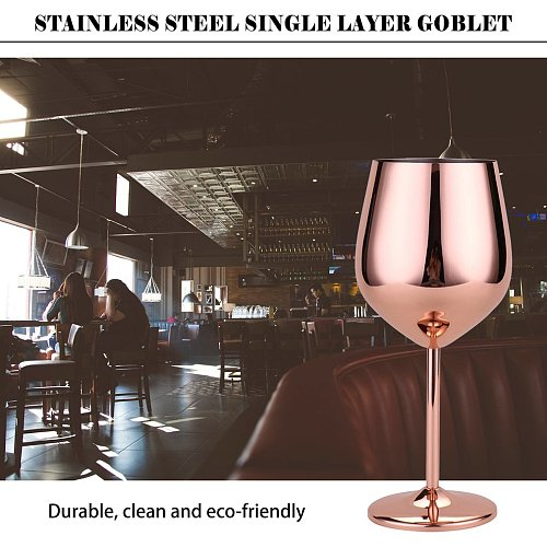 500ml Red Wine Glass Silver Rose Gold Goblets Juice Drink Champagne Goblet Party Barware Kitchen Tools 304 Stainless Steel
