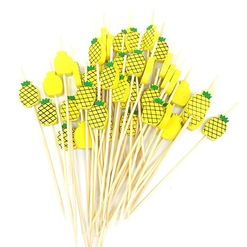 100pc Flamingo Bamboo Pick Buffet Pineapple Cactus leaves Cupcake Fruit Fork Dessert Salad Stick Cocktail Skewer for Party Decor