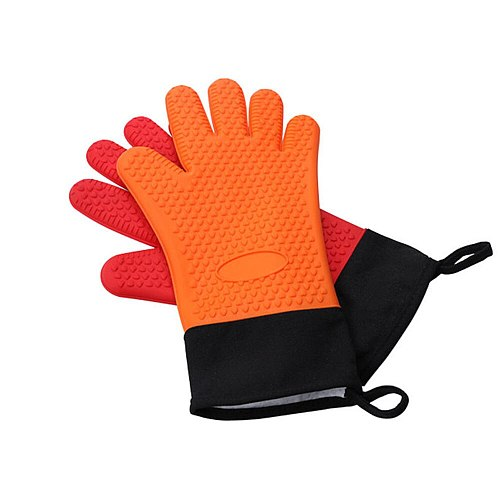 2 Pieces Heat Resistant Gloves Kitchen Silicone Microwave Oven Mitts BBQ Glove With Long Canvas Sleeve Stitching for Grilling