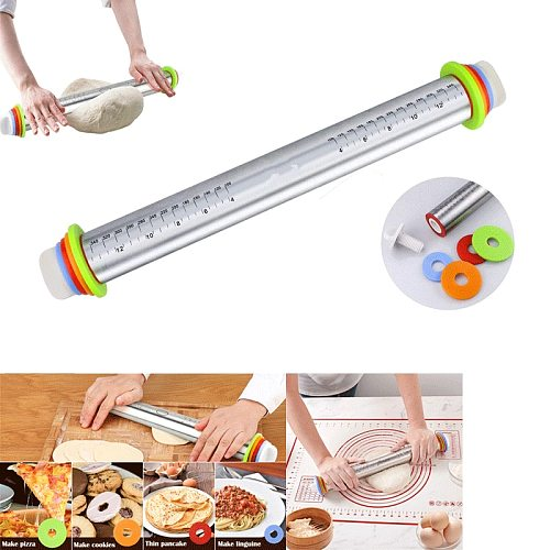Adjustable Rolling Pin Stainless Steel For Dough Mat Pastry And Bakery Accessories Thickness Pizza Baking Kitchen Accessories