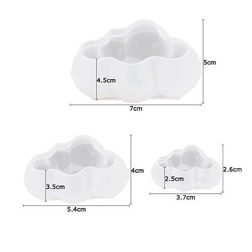 3pcs 3D Cloud Shape Chocolate Silicone Mold Mousse Fondant Ice Cube Pudding Candy Soap Candle Molds Baking Cake Decoration Tool