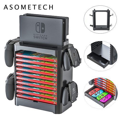 Game Storage Tower for Nintendo Switch Game Disk CD Rack Joycon Controller Holder Gamepad Organizer Stand For Switch Accessories